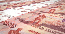 Banknotes of five thousand rubles russians rolling on screen, cash money, loop Animation