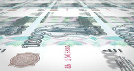 Banknotes of one thousand rubles russians rolling on screen, cash money, loop Animation
