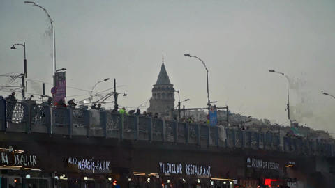 Galata tower , galata bridge and fisherman zoom out shooting Live Action