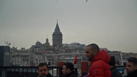 Galata tower and walking people slow motion Footage