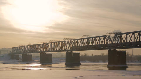 Railway bridge over the river 1 Footage