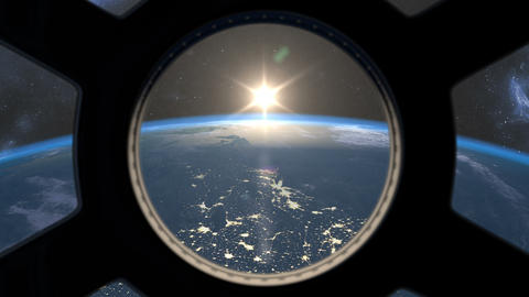 Sunrise seen from ISS window Animation