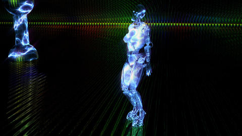 Beautiful cyber girl dances and moves in a blue neon... Stock Video Footage
