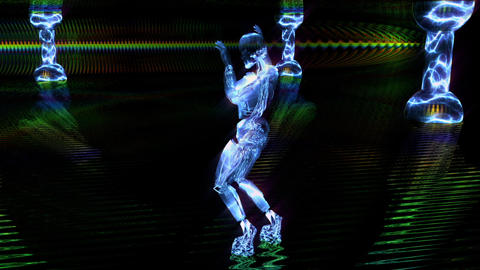 Beautiful cyber girl dances and moves in a blue neon nightclub. Loopable CG動画素材
