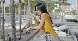 Romantic woman enjoying resort Footage