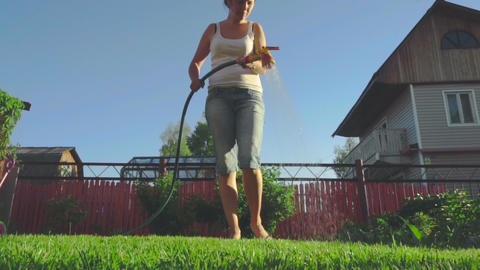 Woman watering the lawn Image