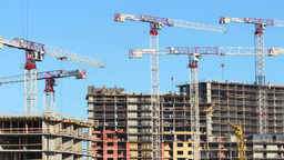 tower cranes construction time lapse Footage