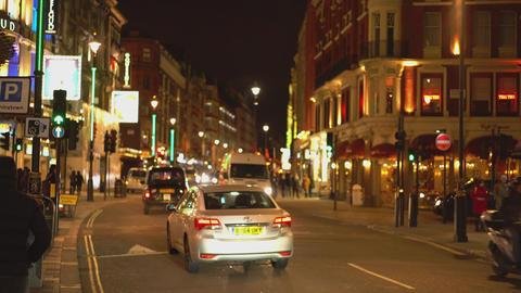 London Shaftesbury Avenue at night - LONDON,ENGLAND FEBRUARY 20, 2016 Footage