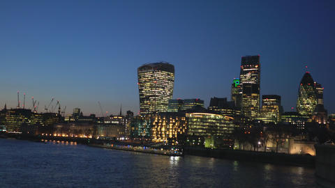 City of London skyline in the evening - LONDON,ENGLAND FEBRUARY 20, 2016 Live Action