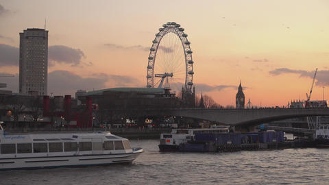 London Eye in the evening - view from River Thames - LONDON,ENGLAND FEBRUARY 20, Footage