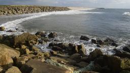Coastal defences at the Praia da Barra near Aveiro Portugal Footage