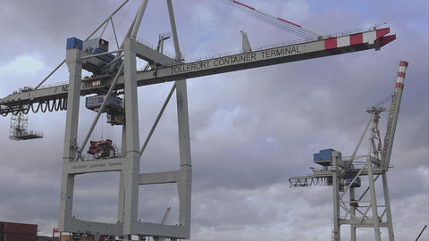 Huge Conrainer Crane - HAMBURG, GERMANY DECEMBER 23, 2015 stock footage