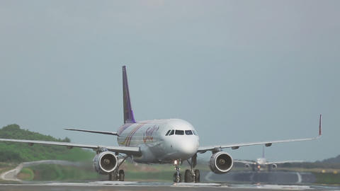 Airbus 320 Braking And Airbus 330 Taxiing To Start stock footage