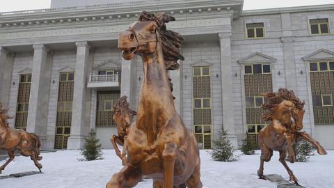 Bronze sculptures of horses Footage