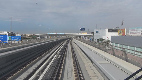 View from the car Dubai Metro Footage