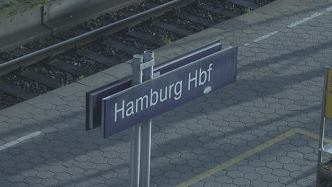 Hamburg Central station sign - HAMBURG, GERMANY DECEMBER 23, 2015 Footage