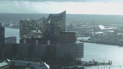 Modern Building Elbphilharmonie At Hamburg Harbor Aerial View - HAMBURG, GERMANY stock footage