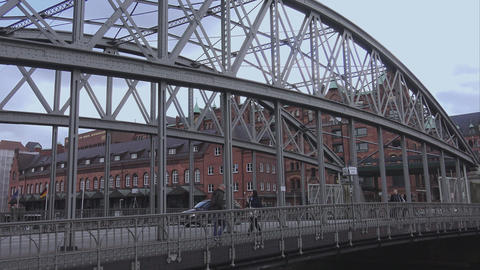 Bridge To Warehouse District Hamburg Speicherstadt - HAMBURG, GERMANY DECEMBER 2 stock footage