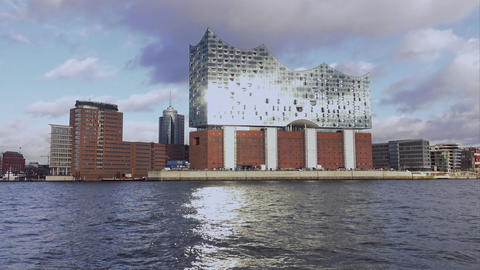 Wonderful view over Elbphilharmonie Hamburg - HAMBURG, GERMANY DECEMBER 23, 2015 Footage