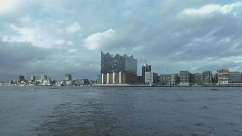 Great Hamburg skyline with Elbphilharmonie - HAMBURG, GERMANY DECEMBER 23, 2015 Footage