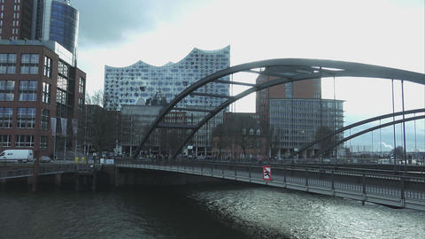 Bridges and Elbphilharmonie at Hafen City Hamburg - HAMBURG, GERMANY DECEMBER 23 Footage