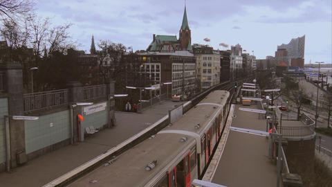 Tram departing from Landungsbruecken station - HAMBURG, GERMANY DECEMBER 23, 201 Footage