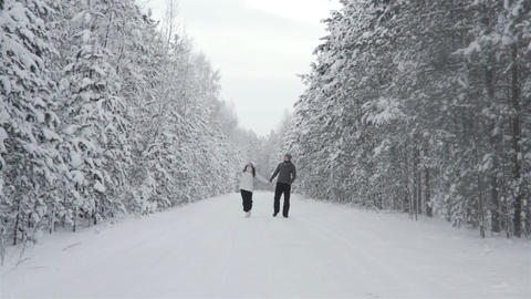 Happy Couple At Winter Forest Footage