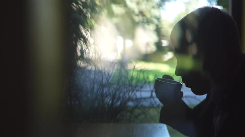 Young Man Drinking Coffee Footage