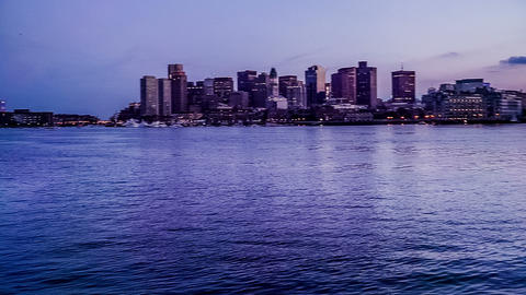 At evening,the panoramic view of downtown of Boston on the far shore, Boston Footage