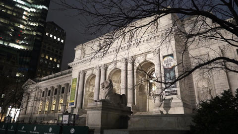Famous New York public library at night - MANHATTAN, NEW YORK/USA APRIL 25, 2015 Footage
