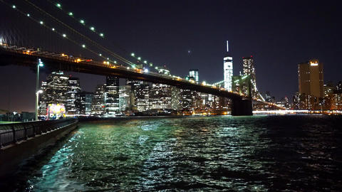 Wonderful Manhattan Skyline by night - MANHATTAN, NEW YORK/USA APRIL 25, 2015 Live Action