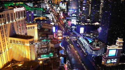 The Las Vegas strip by night amazing aerial shot - LAS VEGAS, NEVADA/USA Live Action