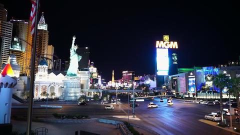 Las Vegas strip street corner at MGM Grand - LAS VEGAS, NEVADA/USA Live Action