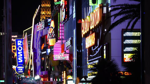 Neon Lights at the Las Vegas strip - LAS VEGAS, NEVADA/USA Footage