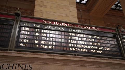 Departure board at Grand Central station Manhattan - MANHATTAN, NEW YORK/USA APR Live Action