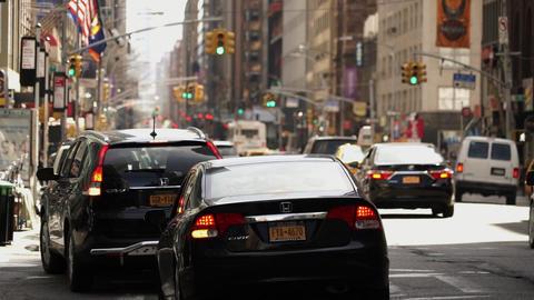 Tele shot of Manhattan street traffic - MANHATTAN, NEW YORK/USA APRIL 25, 2015 Live Action