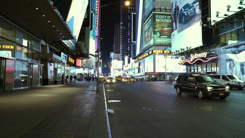 Manhattan Times square by night rather empty - MANHATTAN, NEW YORK/USA APRIL 25, Live Action