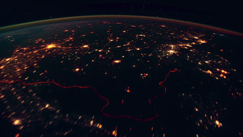 View on Earth, Atmosphere and Aurora from space 4K Footage