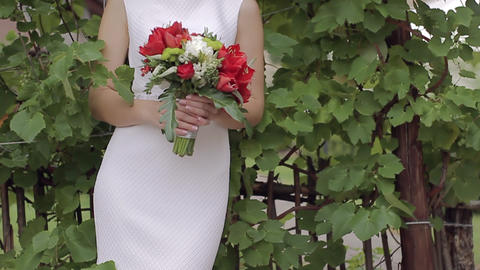 Beautiful bridal bouquet in hands of young bride dressed in white wedding dress Footage