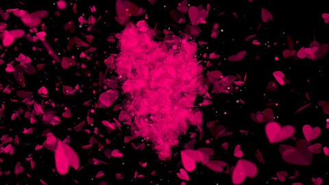 Hearts Transition with Alpha Channel Stock Video Footage