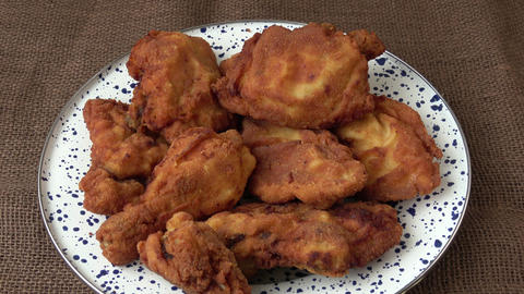 Fresh fried chicken. Fried chicken. Chicken inscription Stock Video Footage