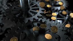 Gears Background and Coins CG動画素材