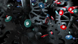 Gears Background and Social Icons CG動画素材