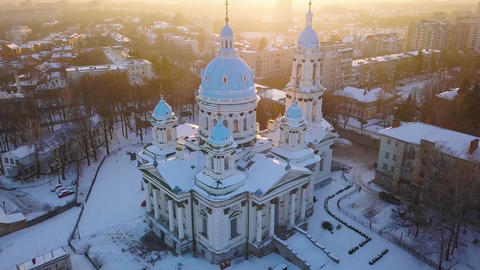 Aerial view of the Trinity Orthodox Cathedral. Sumy, Ukraine Footage
