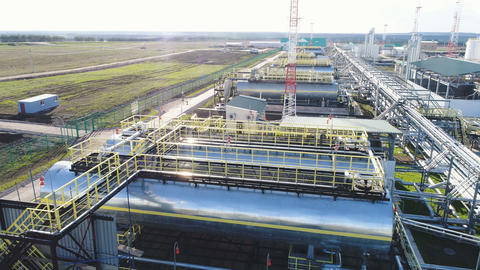 Gas Processing Factory with Cisterns Constructions Footage