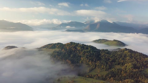 Morning flight above foggy landscape in autumn with beautiful golden colors. Footage