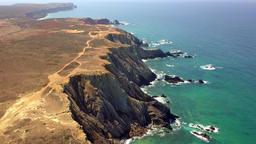 Panorama of tropical coastline cliffs Footage