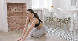 Woman stretching back and practicing yoga Footage