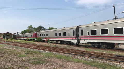 Passenger Train at Chiangmai Railway Station, End of North routh railway of Footage