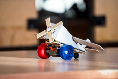 Airplane toy handmade on the table Photo